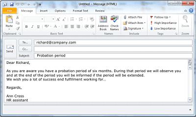 Voorbeeld-email-Engels-proeftijd